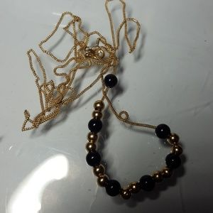 "30"" 14k necklace with gold beads and onyx gemstone"